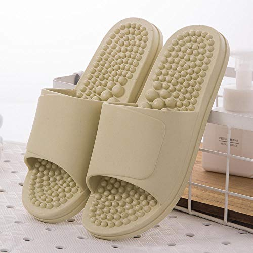 B/H Bathroom Flat Slippers Summer,Foot massage slippers, non-slip bath slippers in the bathroom-Bean green_UK5-UK5.5,Men's Flip Flops Mules Lightweight Slippers