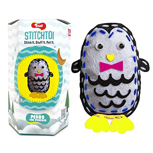 Toiing Stitchtoi Pedro The Penguin - Combo Pack of 4 | Sewing Kit for DIY Soft Toy | Art & Craft Kit | Indoor Toy with Story for Kids Age 5 Years & Above