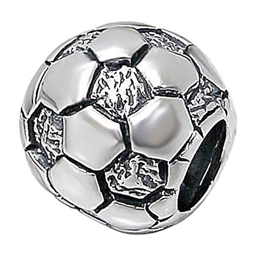 So Chic Gioielli - Charm Football Calcio Argento Sterling 925 - Compatible with Pandora, Trollbeads, Chamilia, Biagi