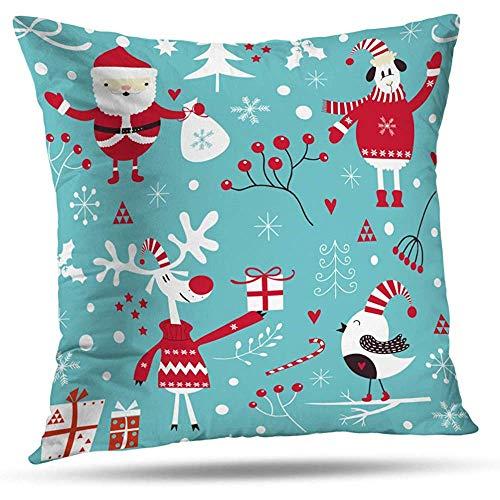 LisaArtikelen Kussenslopen, Vrolijk Kerstfeest Met Kerstman Schapen Vogels Snoepjes En Speelgoed, Home Decoratie Rits Kussensloop 45 * 45 Cm