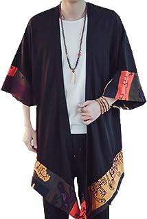 HZCX FASHION Men's Cotton Linen Blends Vintage Cloak Open Front Coat