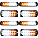 Combo Amber White 4X 12-LED 4pcs 6-LED Car Tow Truck Emergency Warning Beacon Plow Safety Strobe Light Bar
