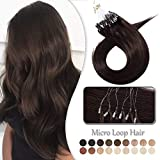 Extension Cheveux Naturel a Froid Rajout Micro Anneaux 100% Cheveux Humain - Micro Ring Loop Remy Hair Extensions 100 Mèches 50g (#2 CHATAIN FONCE, 16 Pouce/40CM)
