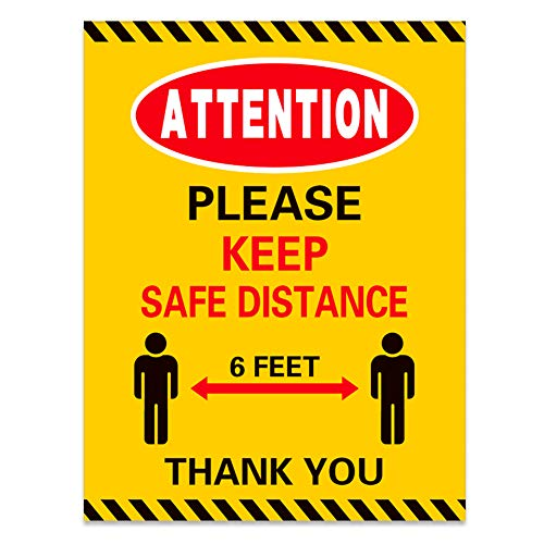 "XJF Social Distance Sticker,20pcs Social Distancing Sign,Attention Please Keep 6ft Social Distancing Sign, 8.5""x 11"""