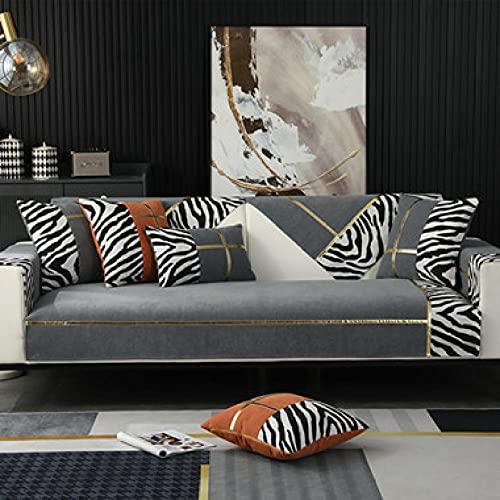 Funda de sofá Cubiertas para sofá de dos plazas, cojín de sofá con borde dorado de terciopelo cebra, sofá de banco suave moderno, toalla para decoración de sala de estar, gris 43 * 63 inch