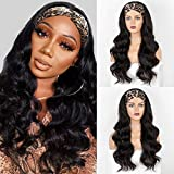 Faeryle Long Headband Wigs for Black Women Natural Looking Wavy Synthetic Wig with Headband Heat Resistant 22inches