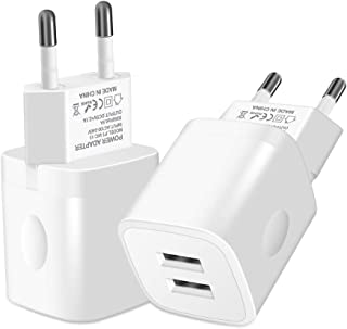 European Travel Plug adapter, AILKIN Wall Charger Adapter for Europe Outlets, 2.1A Dual Port USB Adapter Power Cube Fast Charging Station Box Base for iPhone XR XS MAX X/8/7, iPad, Samsung, etc.-White