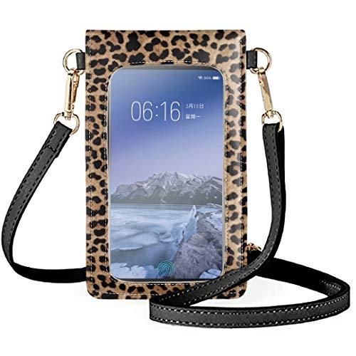 Qingeng Teléfono de pantalla táctil monedero para las mujeres Heavy Duty cuero Cruz cuerpo bolso compras al aire libre teléfono celular bolsas