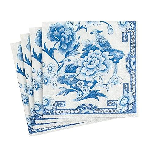 Caspari Blue & White Paper Cocktail Napkins - Two Packs of 20
