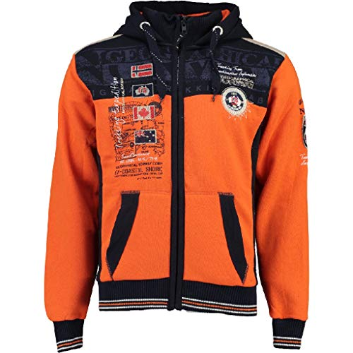 Geographical Norway GEDAY Men Sweat-Shirt à Capuche, Orange (Orange/Bleu Marine), S Homme