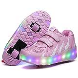 Churlin Zapatos con Ruedas Zapatillas con Dos Ruedas 7 Colores USB Carga para niños y niña Led Luces Zapatillas con Ruedas Se Puede Bambas con Ruedas Automática Calzado de Skateboarding