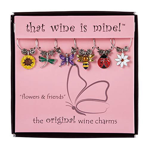 Wine Things Flowers Friends Painted Wine Charms Fits neatly around stem Multicolor