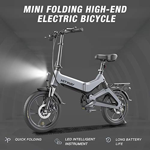 HITWAY Bici elettrica Leggera da 250 W Pieghevole elettrica con pedalata assistita con Batteria da 7,5 Ah, 16 Pollici, per Adolescenti e Adulti (grigio02)