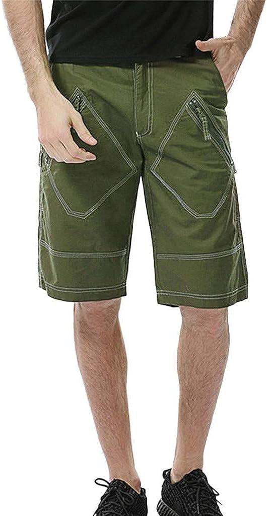 MODOQO Men's Shorts,Summer Casual Loose Fit Elastic Waist Drawstring Cargo Shorts