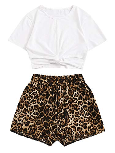 SweatyRocks Women's 2 Piece Outfits Short Sleeve Leoprad Print Cut Out Twist Hem Crop Top and Shorts Set Leoprad Small