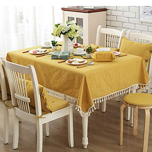 AMDXD Square Tablecloth Outdoor 140x140CM, Polyester Tablecloth Lattice and Tassels, Yellow, Table Cover for Kitchen Dinner Farmhouse Tablecloths
