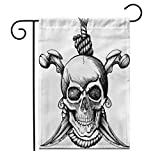 Crysss 12.5x18Inch Garden Flag Tattoo Jolly Roger Skull Pirate Crossbones Flag Gothic Saber Outdoor Home Decor Double Sided Yard Flags Banner for Patio Lawn
