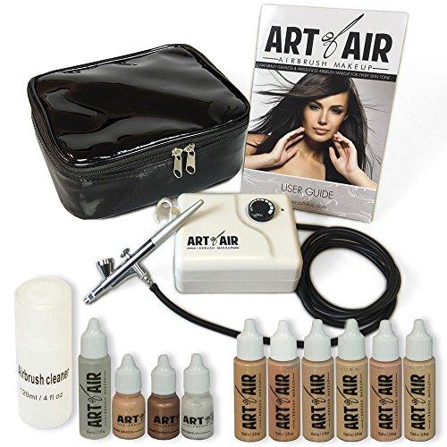 Sistema de aerógrafo Art of Air para maquillaje profesional, justo para tonos medios, con 6 unidades de base con rubor, bronceador, brillo y primer
