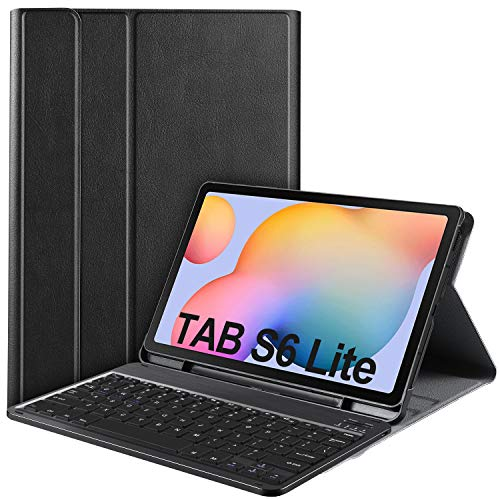 IVSO Keyboard Case for Samsung Galaxy Tab S6 Lite (QWERTY), for Samsung Galaxy Tab S6 Lite Keyboard, Keyboard Case with Wireless Keyboard for Samsung Galaxy Tab S6 Lite 10.4 P610/P615 2020, Black