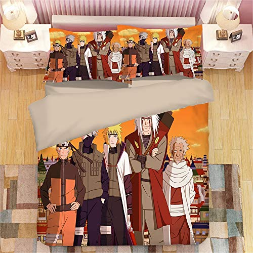 GUANGZHENG Naruto Serie Quilt Cover Funda de funda de almohada Foto de Maestro y Aprendiz Patrón de Anime Ropa de cama Juego de 3 piezas Impresión digital 3D Adecuada para adultos y niños Dormitorio D