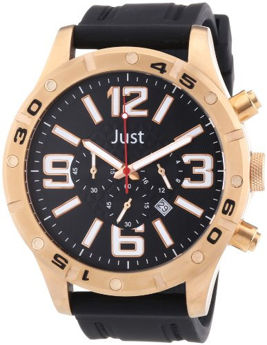 Just Watches 48-S3978-RG - Orologio da polso uomo, caucciú, colore: nero