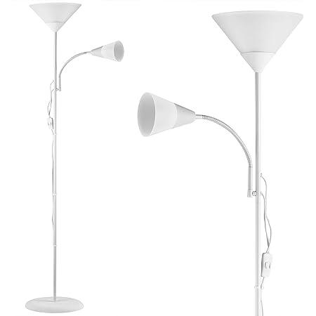 Lampadaire sur pied avec liseuse 'Alissa' Lampe orientable Éclairage intérieur 175 cm - Blanc