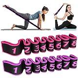 2 Pezzi Cinturino per Esercizi,Elastico Fasce di Resistenza,Cinghia Yoga Cinturino di Resistenza con 8 Loops Cintura per la Ginnastica Elastico Fasce per Fitness, Pilates, Fisioterapia, Stretching