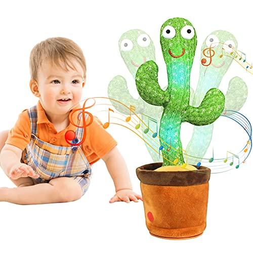 MIAODAM Kaktus Plüschtier, Tanzen Kaktus Plüschtiere Singen und Tanzen, Elektronisches Shake Kaktus Form Spielzeug Für Kinder Erwachsene (Singen + Tanzen + Leuchten + Wiederholen)