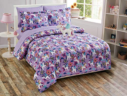 Fancy Linen Girls Comforter Set Castle Unicorn Purple Blue White Yellow New # Unicorn Purple (Queen Comforter)