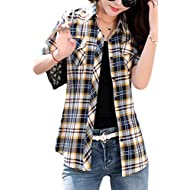 asher BABY Women's Cotton V Neck Short Sleeve Plaid Shirt Button-up Shirts