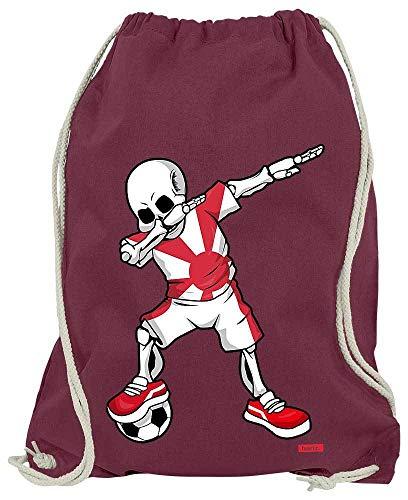 HARIZ Turnbeutel Fussball Dab Skelett Japan Trikot Mannschaft Inkl. Geschenk Karte Wein Rot One Size