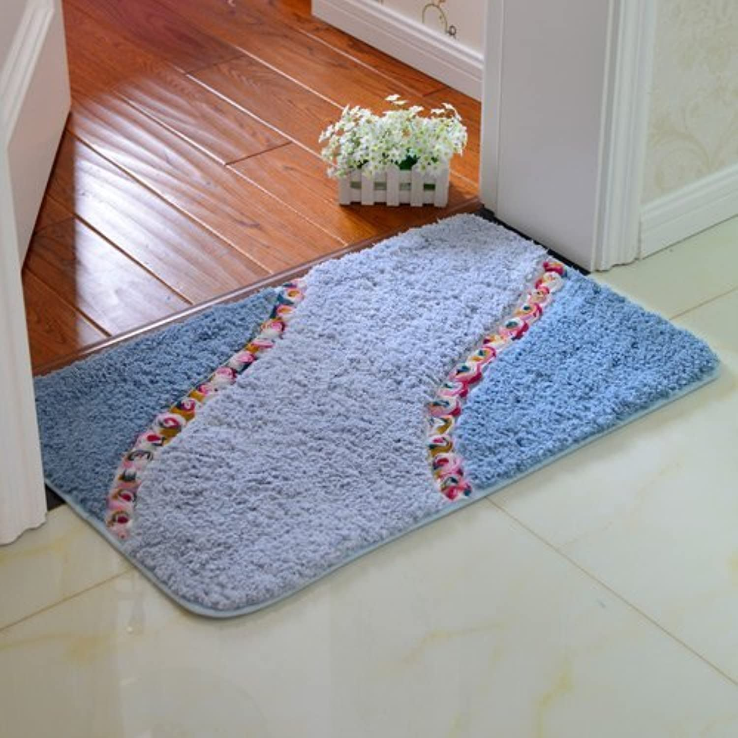 Super Soft Pastoral Mat Warm Flowers Door Into The Door Mat Bedroom Bathroom Anti-Skid Absorbent Pad Cushions Soft and Comfortable (color    4, Size   50  80cm)