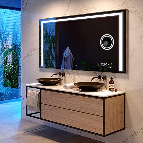 Artforma Badspiegel 150x80 cm mit LED Beleuchtung und Abdeckung- Wählen Sie Zubehör - Individuell Nach Maß - Beleuchtet Wandspiegel Lichtspiegel Badezimmerspiegel - LED Farbe zu Wählen L11