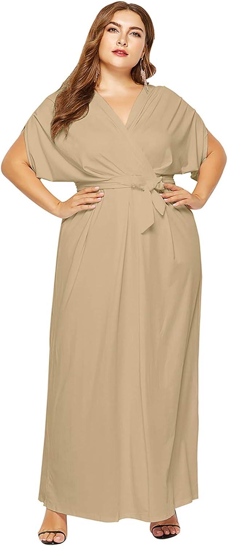 OMZIN Womens Short Batwing Sleeve Maxi Dress High Waist V Neck Party Dress with Belt Plus Size M-4XL