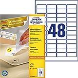 AVERY Zweckform L4736REV-100 Universal Etiketten (4.800 Klebeetiketten, 45,7x21,2mm auf A4, wieder rückstandsfrei ablösbar/abziehbar, individuell bedruckbare, selbstklebende Aufkleber) 100 Blatt, weiß