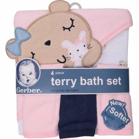 Gerber Newborn Baby Girl Towel and Washcloths Bath Gift Set