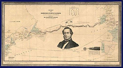 Historic Map, LLC 1858 Kartendiagramm des U-Boots Atlantik Telegraph, Größe 14 x 24 cm, fertig zum Rahmen, Atlantic Ocean, Kabel, U-Boot, Telegraph, Transatlantische Kabel