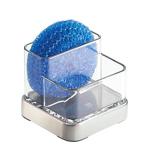 InterDesign Forma Organizador de Cocina para Fregadero, jabonera pequeña con Porta Estropajo en plástico y Metal, Transparente y Plateado