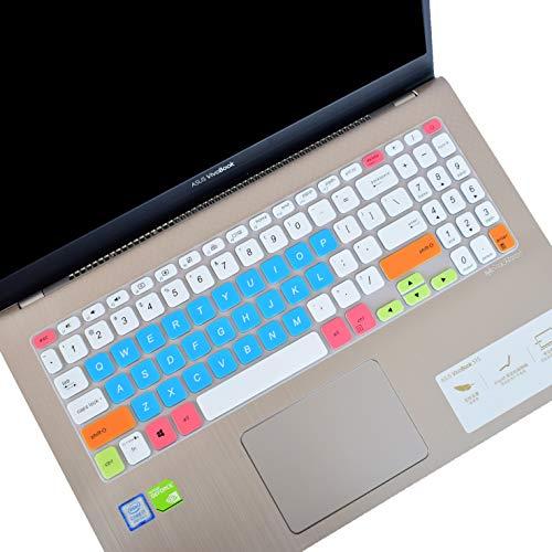 Leze - Funda para teclado ultrafina para ASUS VivoBook S15 S530UA de 15,6', Blanco/Azul