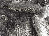 CRS Fur Fabrics Plain Fun Piel sintética Tela Material, Color Gris Oscuro