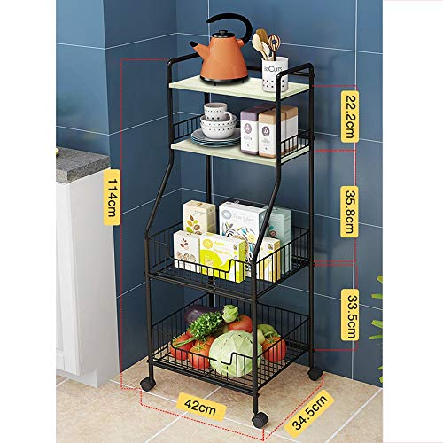Serving Caster Trolleys, Kitchen Trolleys, Storage Trolleys, Bathroom Trolleys, Household Trolleys, Movable 4-layer Trolleys, Used In Bathrooms, Kitchens, Children's Rooms, Laundry Rooms (Color : C)
