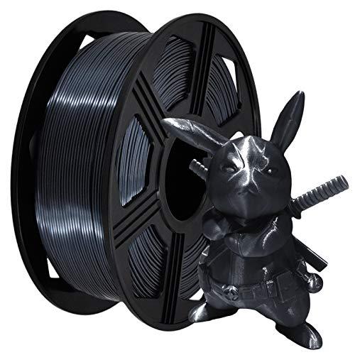 YOYI 3D Printer Filament,Silk Pla Filament 1.75mm 2.2 lbs Spool (1kg), Dimensional Accuracy +/- 0.02 mm, 100% Europe Raw Material (Black)