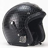 Sconosciuto Caschi in pelle PU Casco moto Chopper Casco moto aperto Casco moto vintage Maschera...