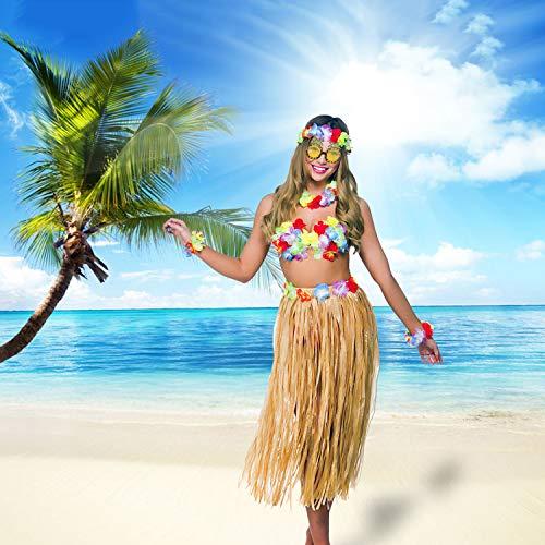 PHOGARY 8PCS Falda de hula Kit de accesorios de vestuario para Hawaii Luau Party - Bailando hula con Flor Bikini Lei hawaiano Pinza para el cabello, Gafas de sol