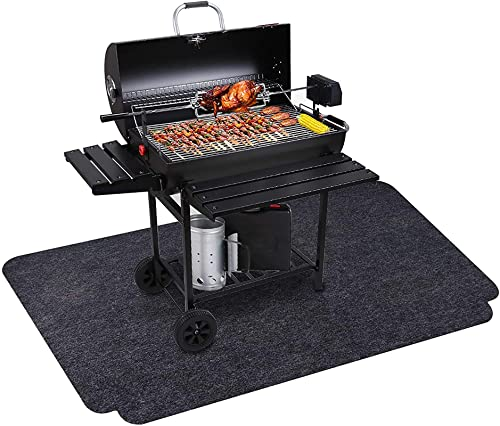 FASMOV 36 X 63 INCHES UNDER GRILL MAT REUSABLE OUTDOOR GRILL FLOOR MAT UNDER GRILL FLOOR MATS TO PROTECT DECK BBQ MAT FOR UNDER BBQ ABSORBENT OIL PAD PROTECTOR FOR DECKS AND PATIOS