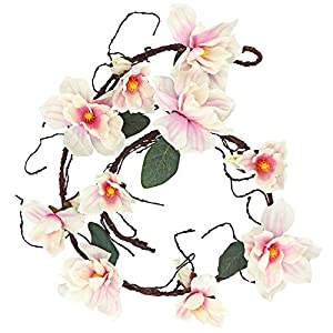 LSME 6.1 Ft Artificial Magnolia Flower Garland Hanging for Wedding Arch Wall Backdrop Home Garden Decoration (Pink)