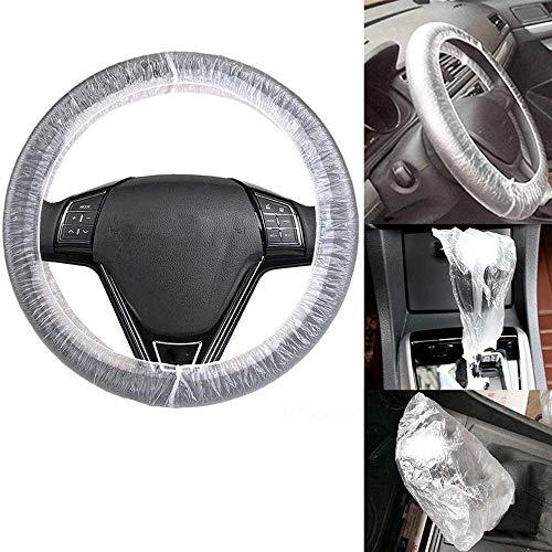 Juego de 200 fundas desechables para volante y selector de engranajes para volante, funda protectora elástica para reparación de coches, compatible con diámetro máximo de 438 cm.