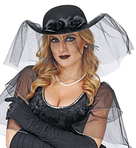 Panelize Schleierhut schwarzer Damenhut Schwarze Witwe Gothic mit schwarzen Handschuhen