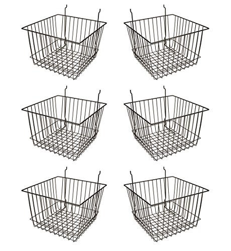 "Econoco - Black Multi-Fit 12"" Deep Wire Basket for Slatwall, Pegboard or Gridwall (Set of 6) Metal Semi-Gloss Basket, Black"