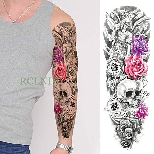 tzxdbh Etiqueta engomada Impermeable del Tatuaje de 3Pcs 骷髅 Rose ...